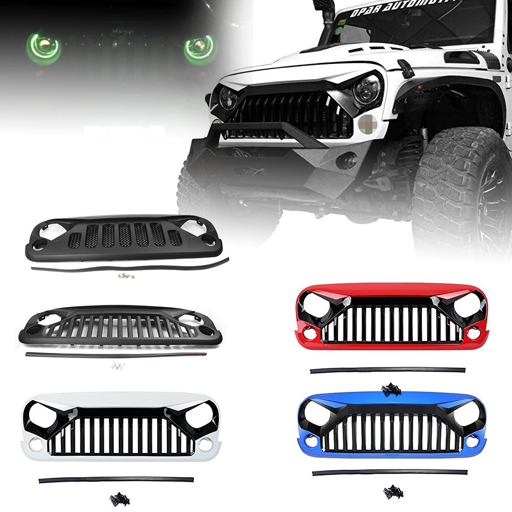 ABS Front Racing Grille Cover Decoration With Insect Net Accessories for Jeep Wrangler JK 2007-2016 Car Styling image