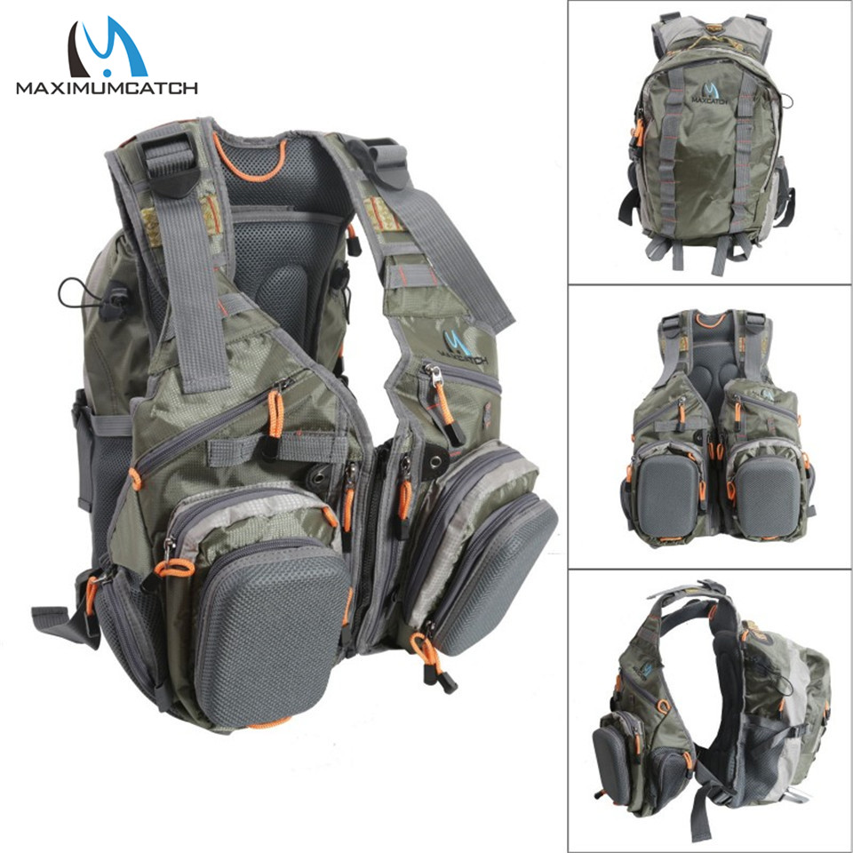 Maxcatch Fly Fishing Vest With Multifunction Pockets Size Adjustable Fishing Backpack