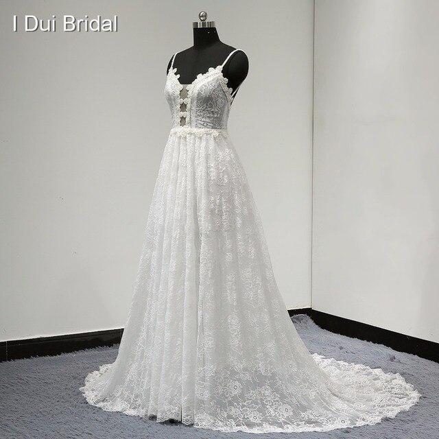 Spaghetti Strap A Line Lace Wedding Dress Unique Design 2017 New Style Drop Ship