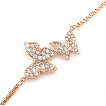 Tiny Trendy Cubic Zirconia Crystal Butterfly Bracelet Luxury Cz Stone Rose Gold Adjustable Bracelet For Women Jewelry S-L0003 3