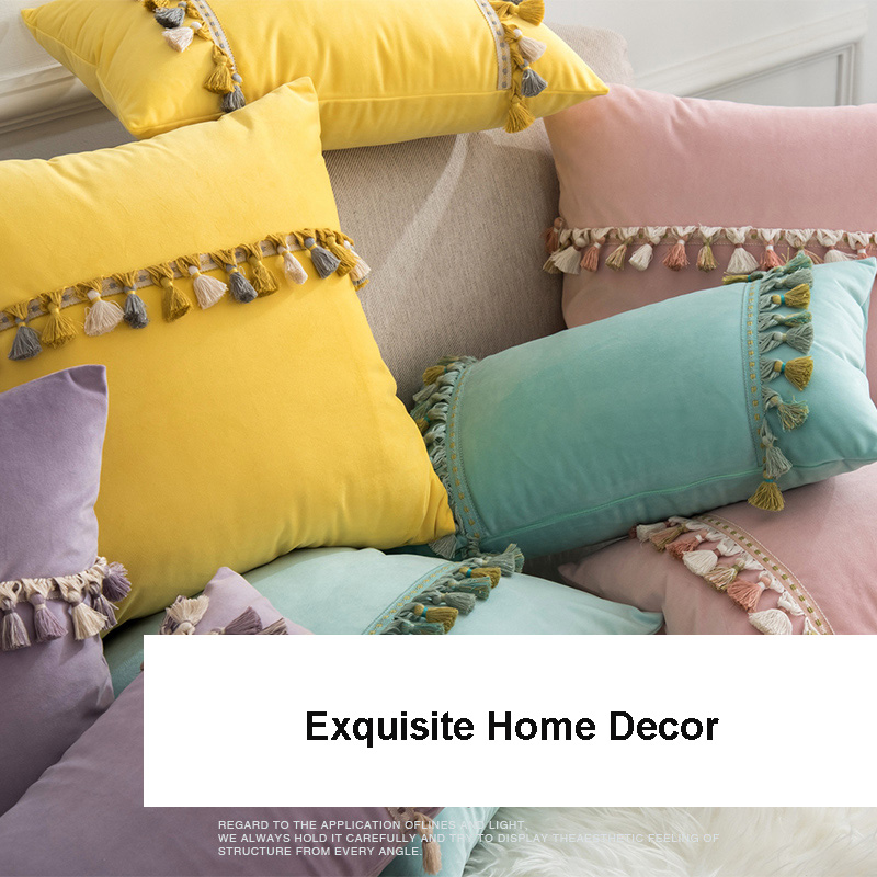 Nordic Cushion Covers For Sofa Velvet Cushion Cover Tassels Pink Green Yellow Purple Throw Pillowcases Home Decor Wedding Gift