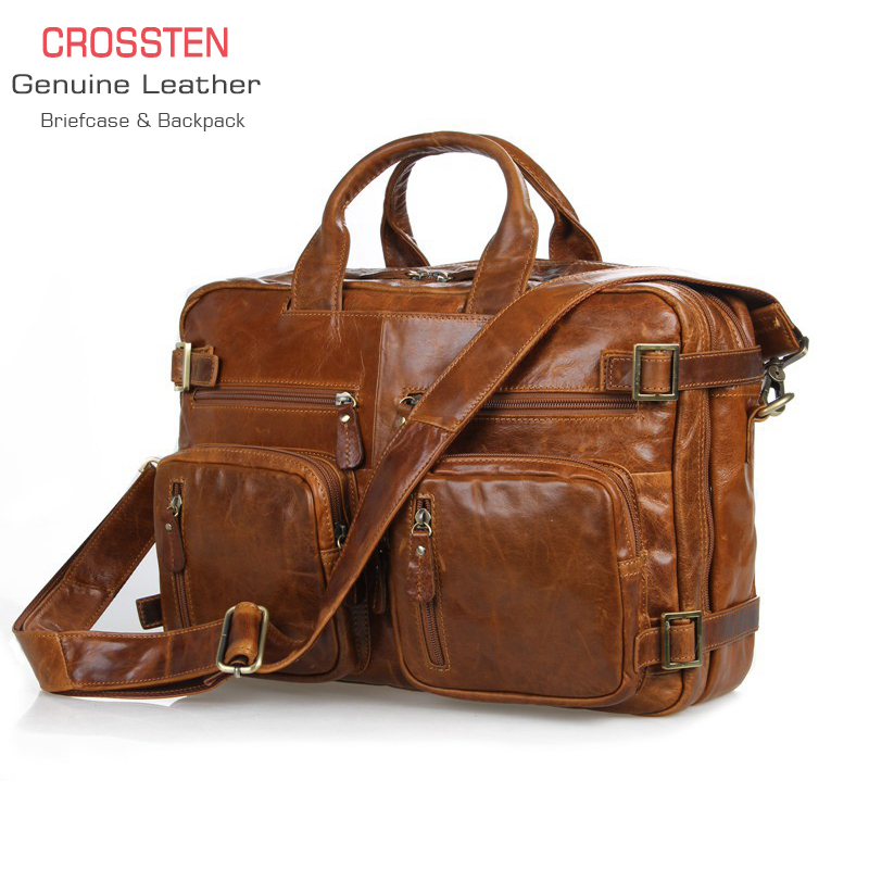 Crossten Multifunctional Natural Cowskin 100% Genuine Leather Men's Briefcase Large Capacity Business Bag  Laptop Messenger Bag