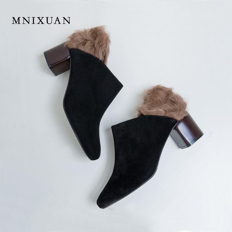 MNIXUAN Women shoes pumps 2017 spring new fashion genuine leather round toe block high heels 6cm office ladies shoes fur black mnixuan women shoes slippers 2018 spring