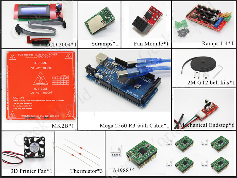 3D Printer kits - Mega 2560 R3/Ramps 1.4/Heatbed MK2B/2004 LCD Controller/A4988/Mechanical Endstop/Fan and Fan module/GT2 belt