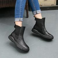 Designer Women Ankle Boots Black Short Plush Winter Martin Boots Women Low Heel Chelsea Boots Genuine