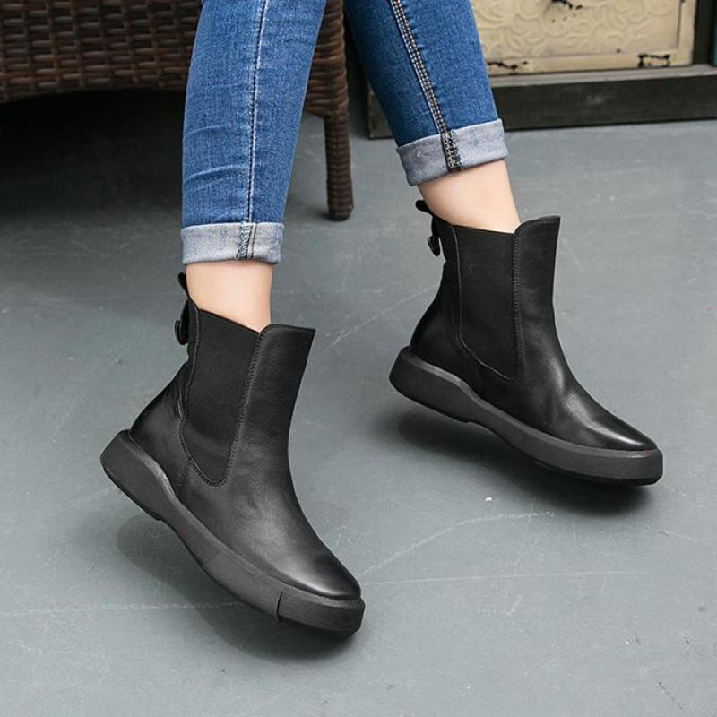 Designer Women Ankle Boots Black Short Plush Winter Martin Boots Women Low Heel Chelsea Boots Genuine Leather Handmade Shoes