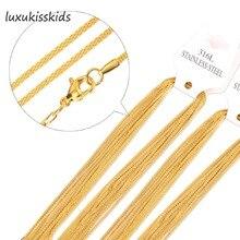 LUXUKISSKIDS Wholesale Plating 10pcs/lot Gold/Steel 2mm Rope Chains 45cm,50cm,55cm,60cm Fashion Jewelry Chain Necklaces