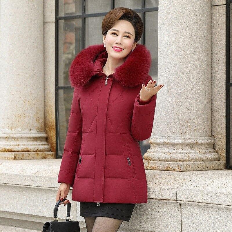 2019 новая зимняя куртка пуховик из белого утиного пуха Женская средней длины с капюшоном плюс размер куртка женская тонкая пуховая куртка из... - 2