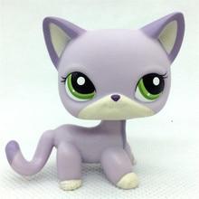 Pet Shop Lps Toys Standing Littlest Short Hair Cat #2291 White Pink Glitter kitty new pet genuine original lps 2341 green eye sparkle glitter fox cat toys