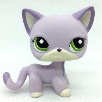 Pet Shop Lps Toys Standing Littlest Short Hair Cat #2291 White Pink Glitter kitty цена 2017