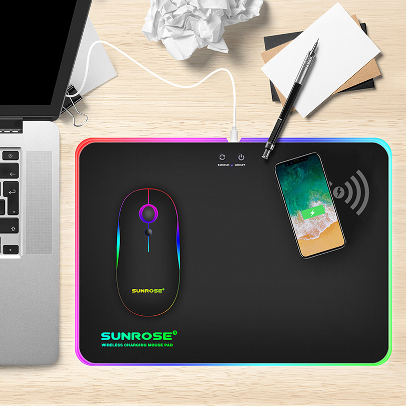 RGB LED Gaming Mouse Pad With Wireless Charger Function USB Wired Glowing Mousepad Laptop Desktop Mat for PC Computer CSGO Dota