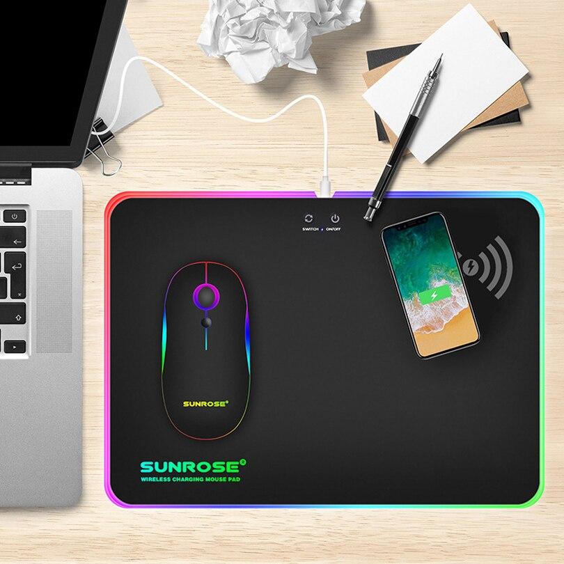 Souris de jeu LED RGB avec fonction de chargeur sans fil USB filaire brillant tapis de souris ordinateur portable tapis de bureau pour ordinateur PC CSGO Dota