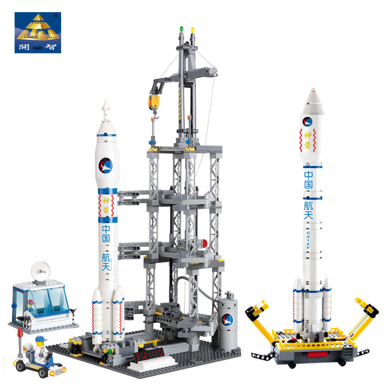 KAZI 83301 882Pcs Childrens Puzzle DIY Assembled Space Rocket Spacecraft Chinese Rocket Launch Station Gift for Children