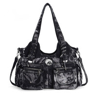 Handbag ladies denim fabric fashion shoulder bag slung black blue