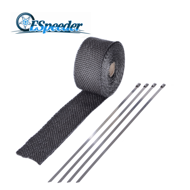 ESPEEDER 16 Feet*2 Inch Car Motorcycle Exhaust Wrap Black GlassFiber Turbo Manifold Heat Heater Wrap+5pcs Stainless Zip Ties