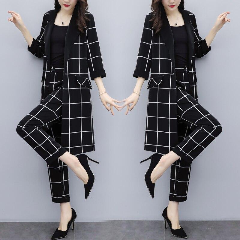 Grande taille Plaid femmes ensembles vêtements Deux pièces Ensemble de mode Ensemble Femme Deux pièces Conjunto Feminino année Femme Costume