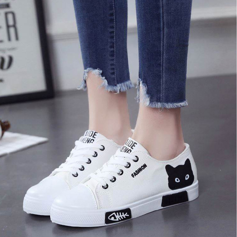 Women Autumn Vulcanized Lace Up Cartoon Animal Canvas Female Casual Solid Flats White Board Shoe Ladies Fashion Footwear 2018