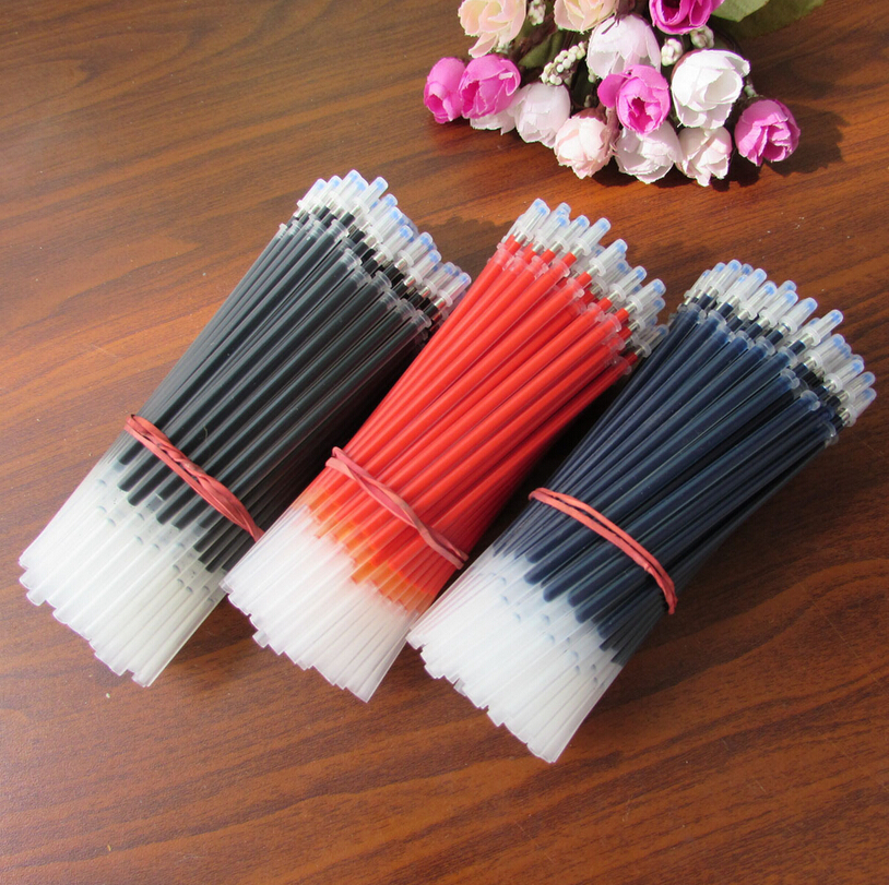30pcs/lot 0.5mm Neutral Ink Gel Pen Refills Set Korean Stationery School OfficeSupplies Black Blue Red Ink Pen refills 15 pcs flash gel pen erasable pen refills length 111mm diameter 6mm leather fabric markings pens water soluble color refills
