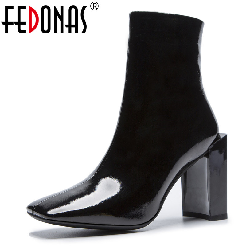 FEDONAS Brand Women Ankle Boots Warm Punk Party Prom Night Club Pumps Shoes Woman High Heels