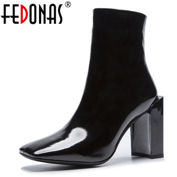 FEDONAS Brand Women Ankle Boots Warm Punk Party Prom Night Club Pumps Shoes Woman High Heels Ladies Boots Ladies Zipper Pumps