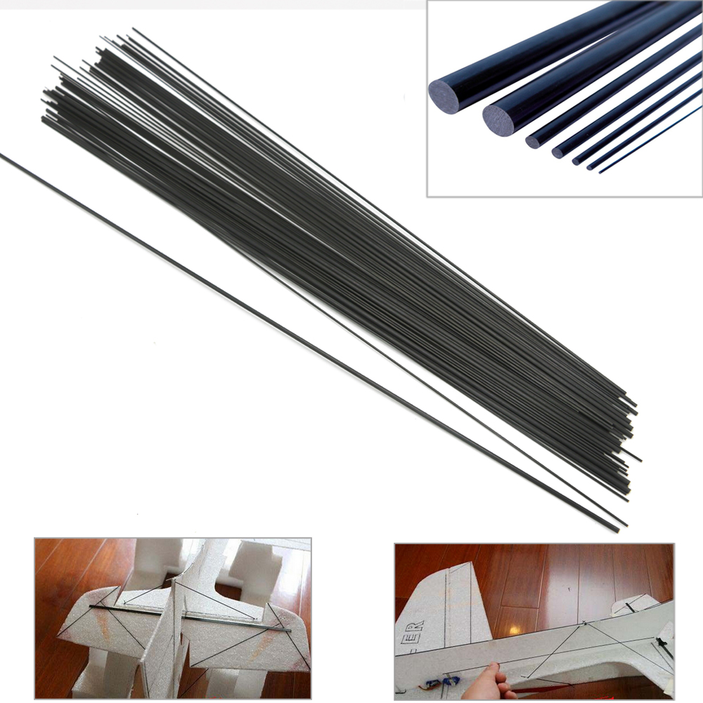16pcs/lot Carbon Fiber Rods For RC Plane DIY Tool Wing Tube Quadcopter Arm 1mm 1.5mm 2mm 3mm 4MM 5MM 7MM (0.5 Meter) Wholesale