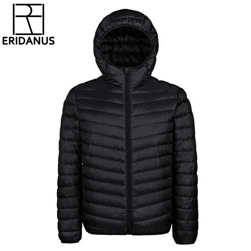 2017 зимняя куртка Для мужчин новые пары Пальто для будущих мам ультра-легкий с капюшоном Slim Fit Марка хлопка мягкой сплошной Мужские парки белая утка подпушка 3XL x321