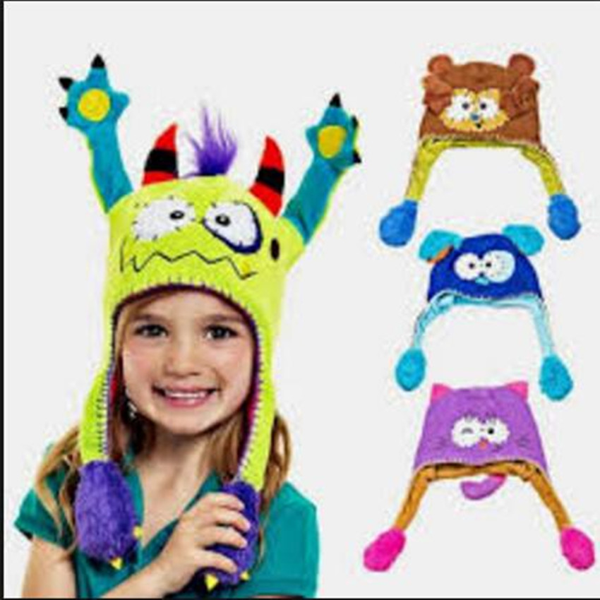 Push Moving Hat Cartoon Baby Hat Earflap Flipeez Kids Cat Rabbit Animal  Dance Beanie Monster Action ... 6d76377074e2