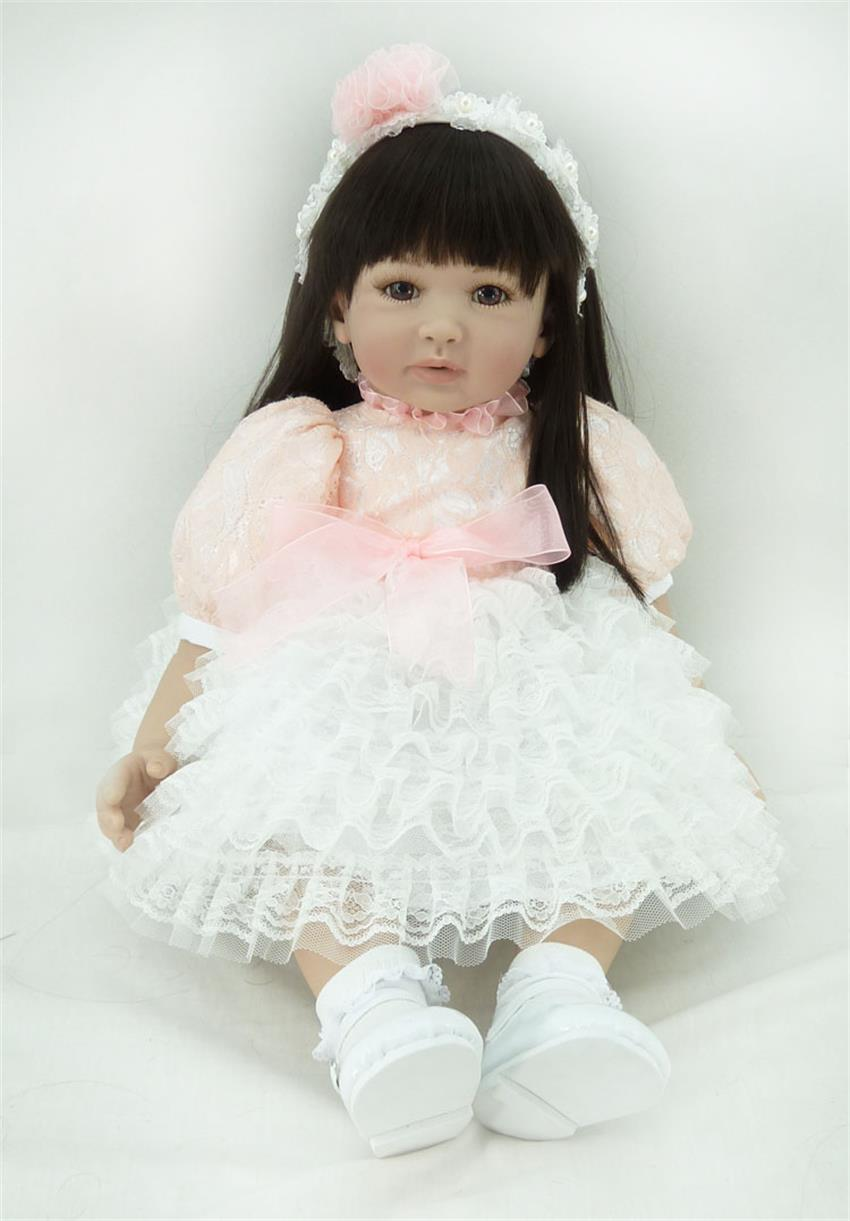 60cm Silicone Vinyl Reborn Like Real Baby Doll Toy 24inch Princess Toddler Girl Babies Doll Birthday Gift Play House Bedtime Toy handmade 18 cute china girl doll reborn baby doll sd bjd doll best bedtime playhouse toy enducational toy for girls as gift