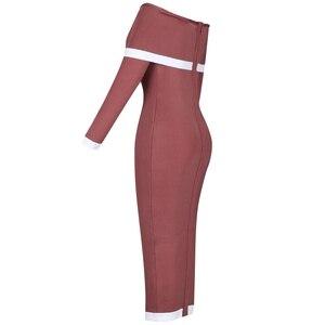 Image 3 - Ocstrade 2019 新シックな女性ブラウンパーティーセクシーなオフショルダー包帯ドレス長袖ボディコンドレスレーヨン高品質