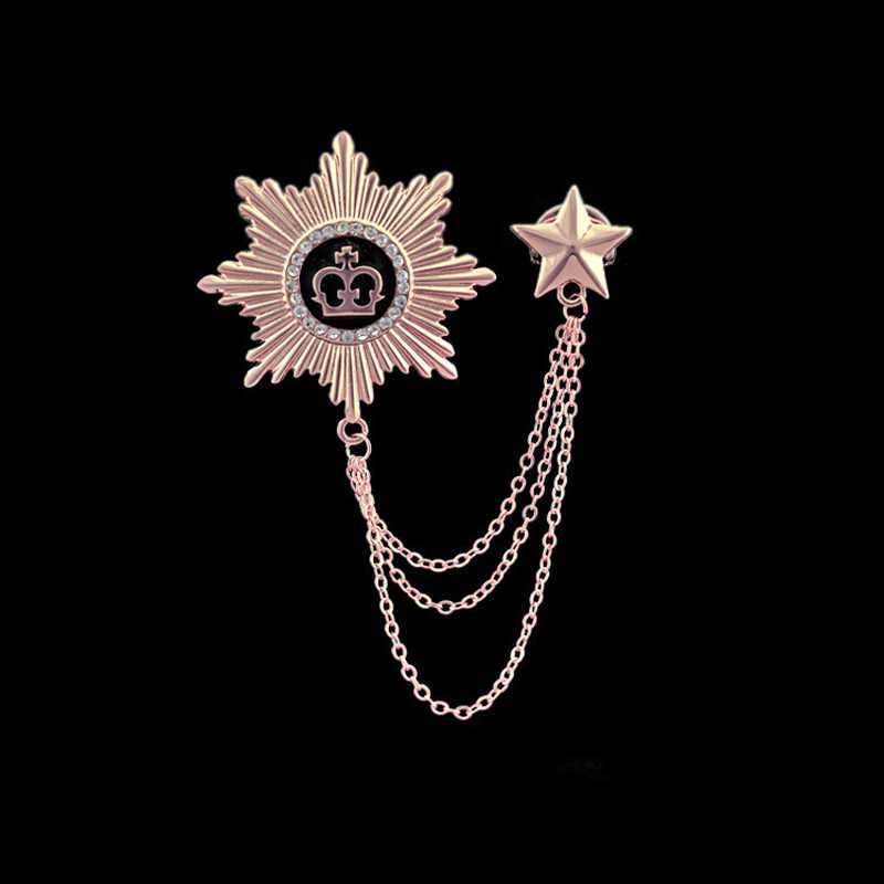 Unisex Oro/Argento Stella Corona Strass Distintivo Link Catene Nappe Pins Spilla Fermaglio Pin Spille