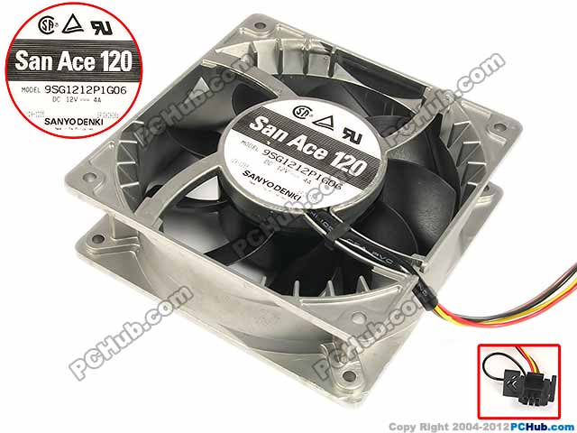 Sanyo Denki 9SG1212P1G06 Server Square Fan DC 12V 4A 120x120x38mm