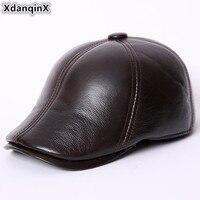 XdanqinX Classic Winter Middle aged Men's Genuine Leather Berets Cowhide Leather Warm Velvet Earmuffs For Men Chapeau En Cuir
