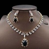 for women engagement fashion Navy blue India Dubai African bridal bridesmaid Wedding zircon Jewelry Set