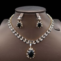 for women engagement fashion Navy blue India Dubai African bridal bridesmaid Wedding zircon Jewelry Set