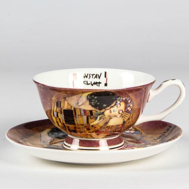 Bohemian Ceramic Cup and Saucer