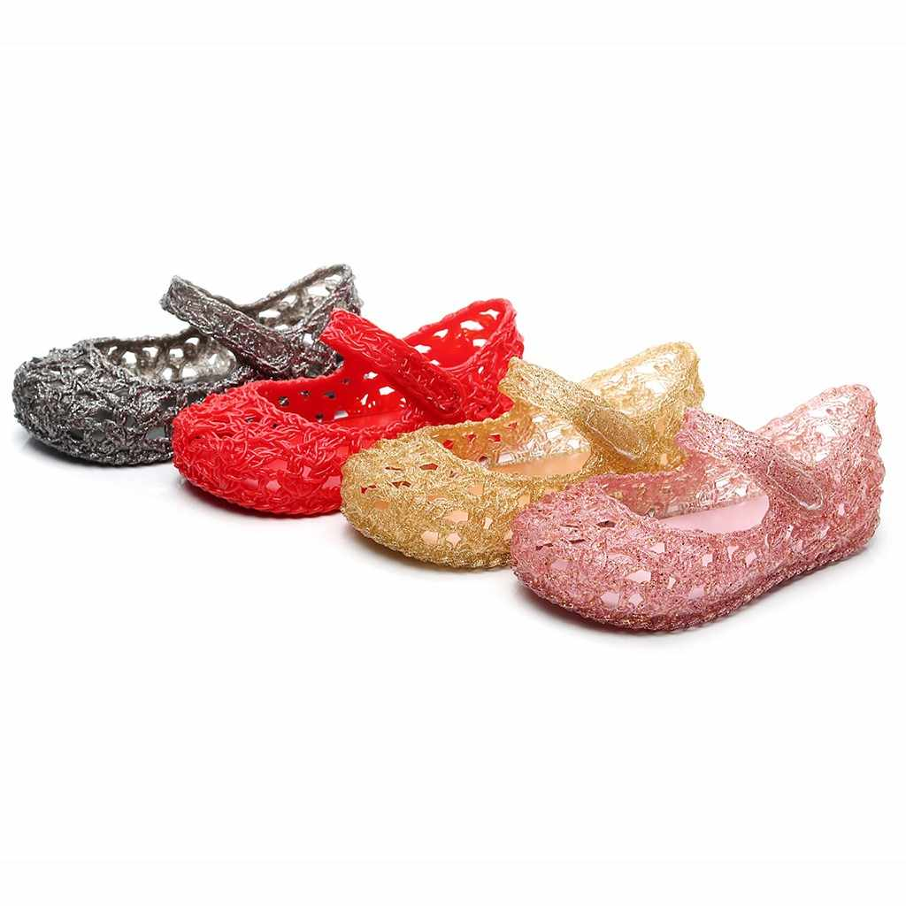 Toddler Infant Kids Baby Girls Solid Weave Hole Single Princess Shoes Sandals Breathable Hoolow Out Shoes