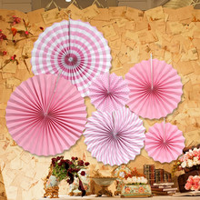 6pcs Folding Fan Flower Fashion Colorful Handcraft Paper Rosettes Kids Birthday Party Supplies Home Wedding Shower Backdrop