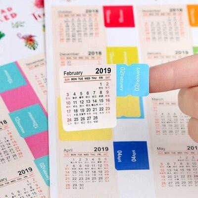2 Pcs New 2020 / 2019 Year Mini Calendar Stationery Index Decorative Stickers Label Calendar Sticker DIY Work Schedule Calendar