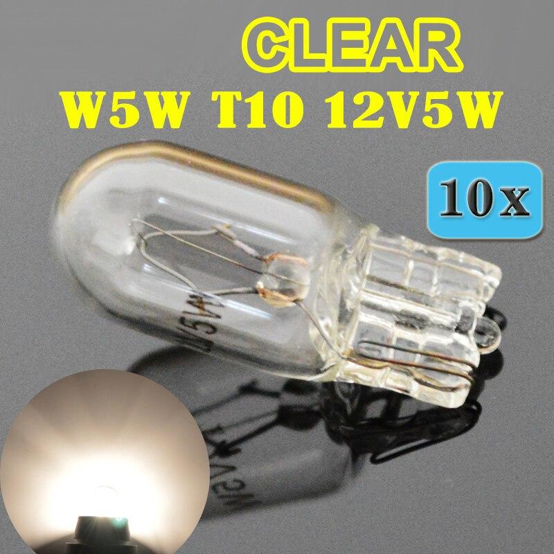 Hippcron (10 шт./лот) прозрачная 501 194 W5W T10 белая стеклянная 12в 5 вт W2.1x9.5d однонитевая автомобильная лампа, автомобильная лампа
