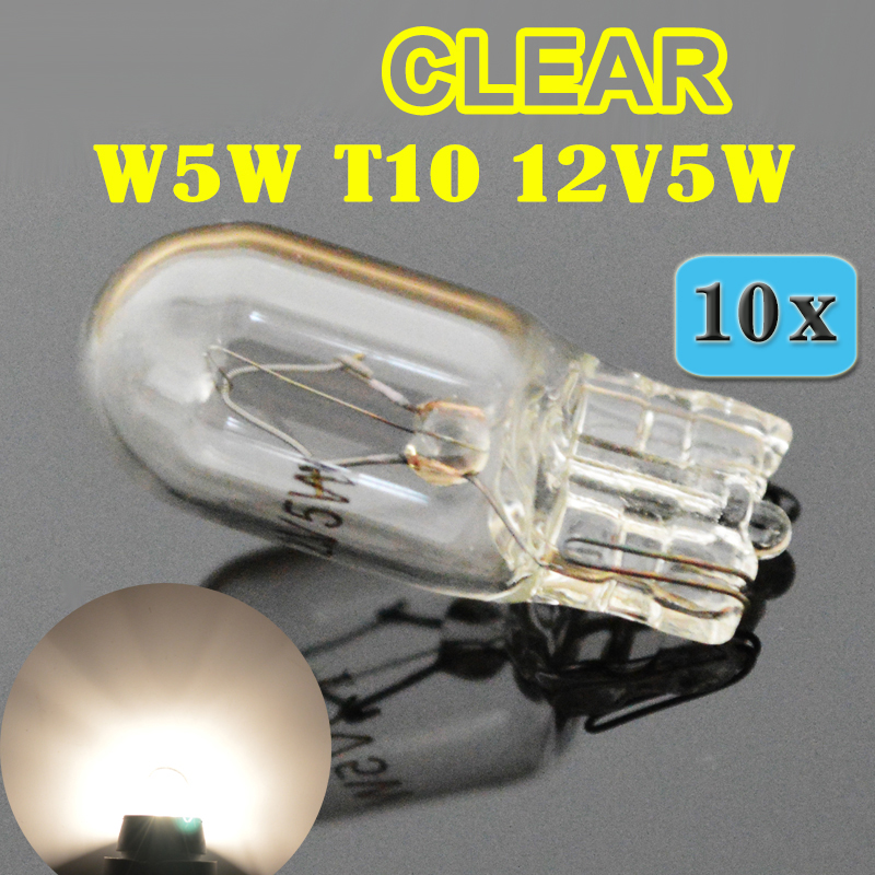 Flytop (10 Pieces/Lot) Clear 501 194 W5W T10 White Glass 12V 5W W2.1x9.5d Single Filament Car Bulb Auto Lamp