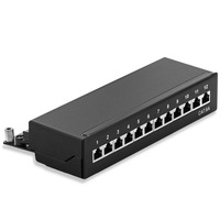 Mini Desktop CAT 6A 12 Port Patch Panel Full Shielded Available For Wall Mounting Bottom Plate