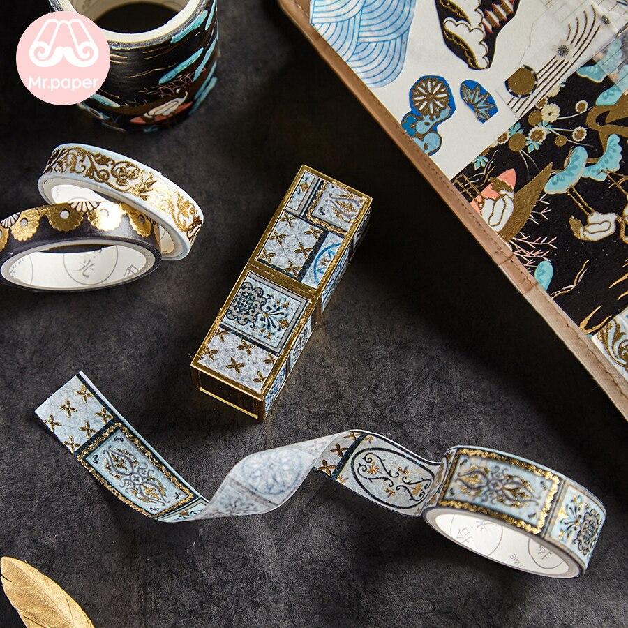 Scrapbooking Planner Deco Crane Chinoiserie 16-Designs Gold/sliver Sakura Mr-Paper Stamping