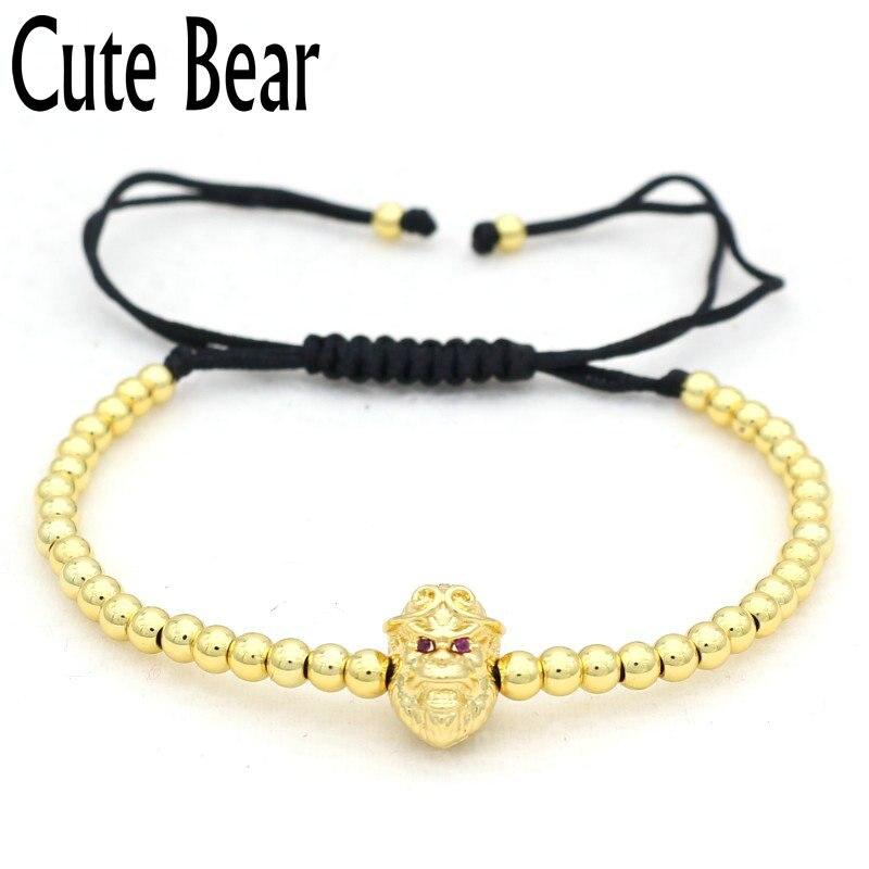 Cute Bear Brand Men Bracelet Tight Spells Monkey 4mm Copper Beads Bracelet Women Jewelry 2017 Popular Boy Gift Pulseira Feminina
