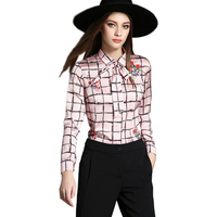 2016 New Women Elegant Plaid Blouse European Fashion Runway Style Long Sleeve Temperament Print Shirt Tops