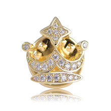Chic Mini Crown Button Brooches For Women Man Zircon Collar Clips Suit Coat Spille Sweater Dress Hat Accessories jeans Broches