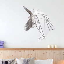 Unicorn Mirror Wall Sticker 3D Horse Geometric Acrylic Surface Stickers For Kids Room Living Home Decor