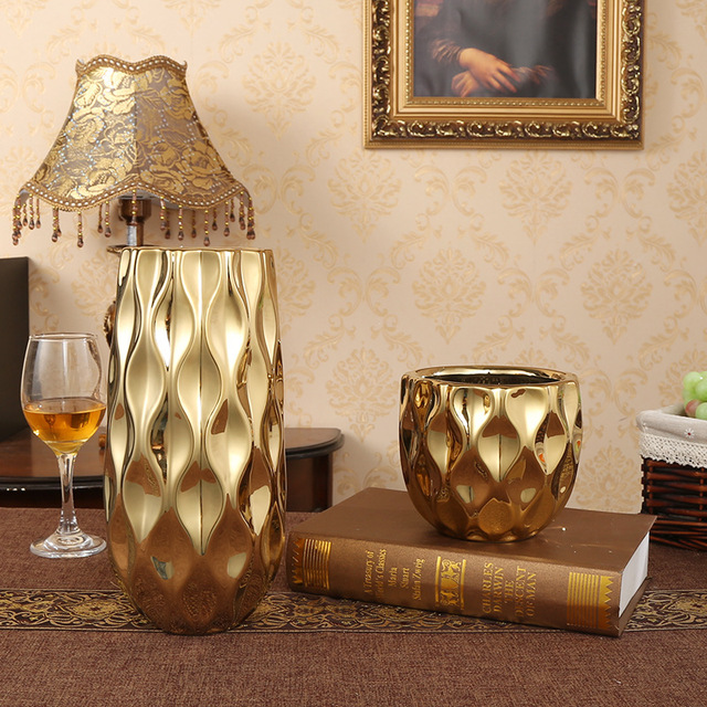 Gold Plating Bumps Stereol Vase European Big Mouth High-grade Flower Bottle Hotel / Living Room Luxurious Desktop Decoration