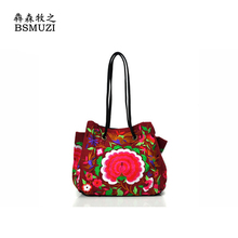 New Arrival Canvas Women Shoulder Bag Famous Brand Chinese National Style Embroidered Ethnic Bag Totes Kabelky Woman Ladies Bags