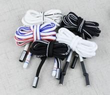 Sports pants drawstring strap metal head black and white cotton rope belt sweater personality decorative cap rope