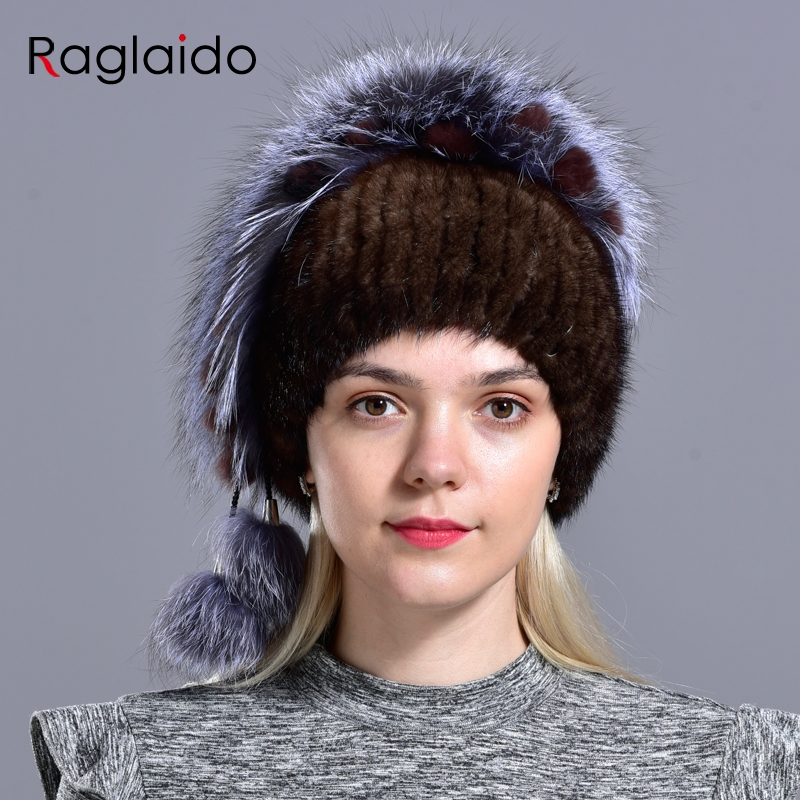 New Women s Hat Knitted Real Mink Hats for Girls Real Fur Winter hats warm Beanies